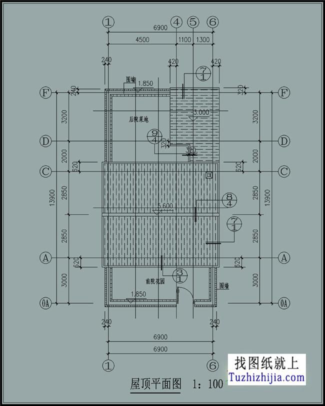 96平方米 农村一层平房cad建筑图纸 效果图!
