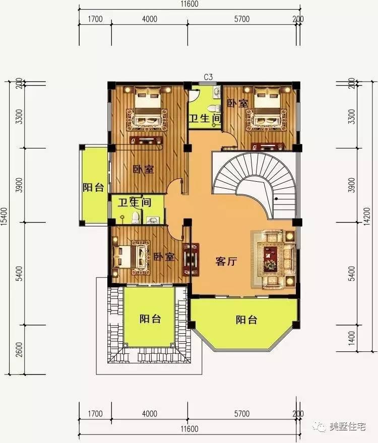 三层浴室平面图