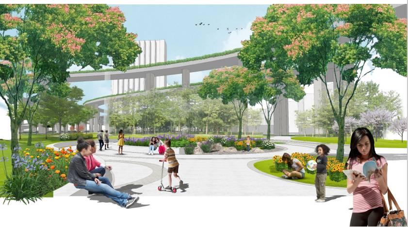 增加市民可以参与的空间场地与静安体育中心运动空间交流互动.