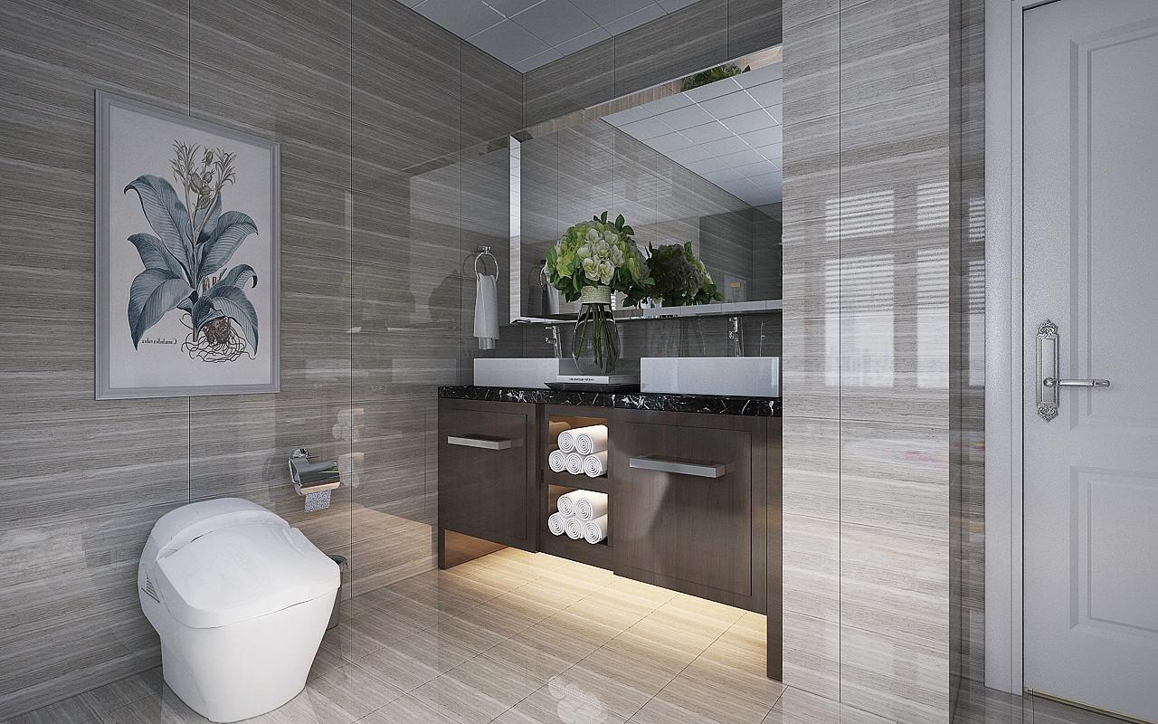 哈尔滨群力保利城三居室美式风格装修样板间装修