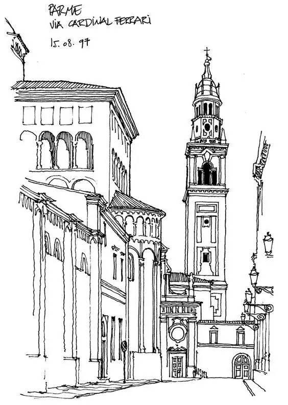 欧式钢笔画特色建筑