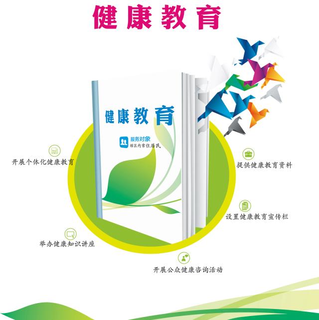 居民健康档案的维护管理 02 辖区内常住居民 服务内容 提供健康教育