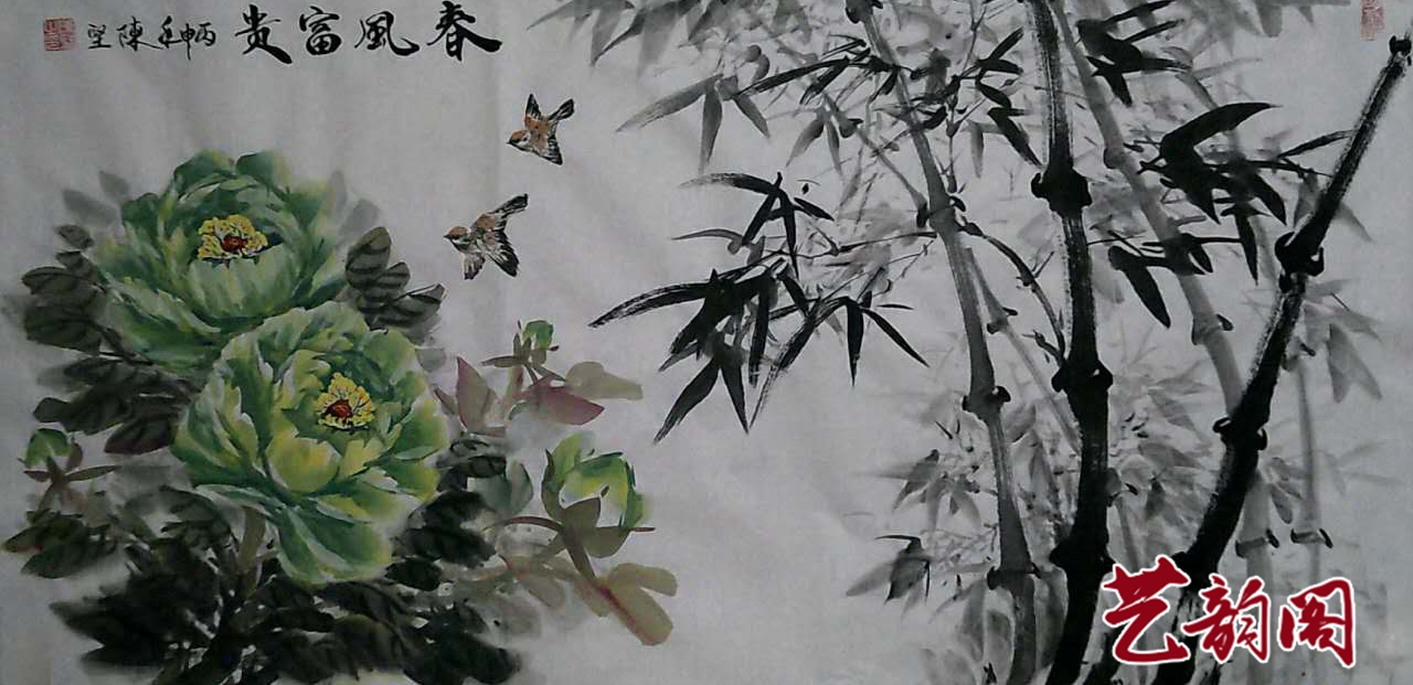 中国著名书画家陈坚写意牡丹作品欣赏