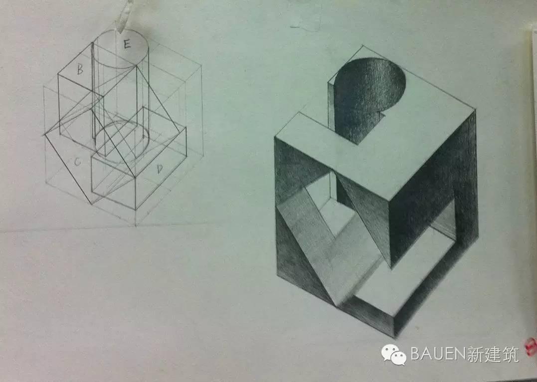 (一个长方体切割成2个长方体) 三菱锥,由4个体块穿插组合,搭图片