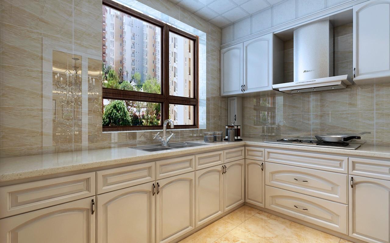 整个厨房的感觉显得非常的大方没有多余的颜色点缀,在橱柜选择上采用