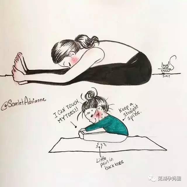 手绘瑜伽图片卡通小人