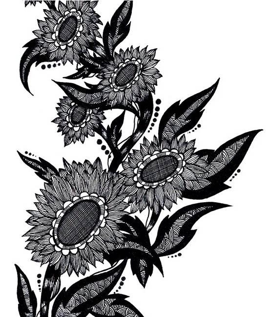 黑白画的表现内容很多,基本上人物,风景,动物,静物,花卉居多.