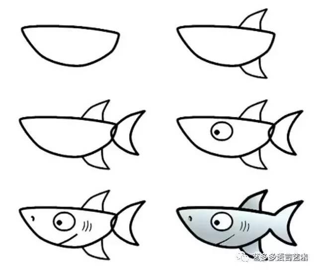 如何画卡通鲨鱼 卡通鲨鱼简笔画的画法 鱼类简笔画