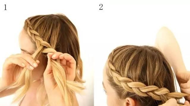 1,取左侧头发,按照四股辫的编法开始编辫子.