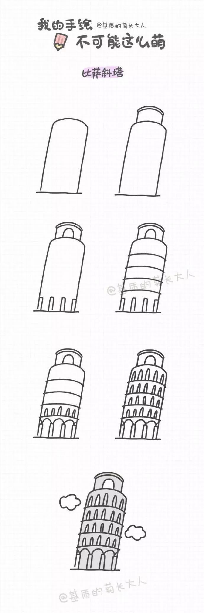 简笔画手账 | 手绘萌萌的世界名建筑,说不定哪天就去了呢,码起来!