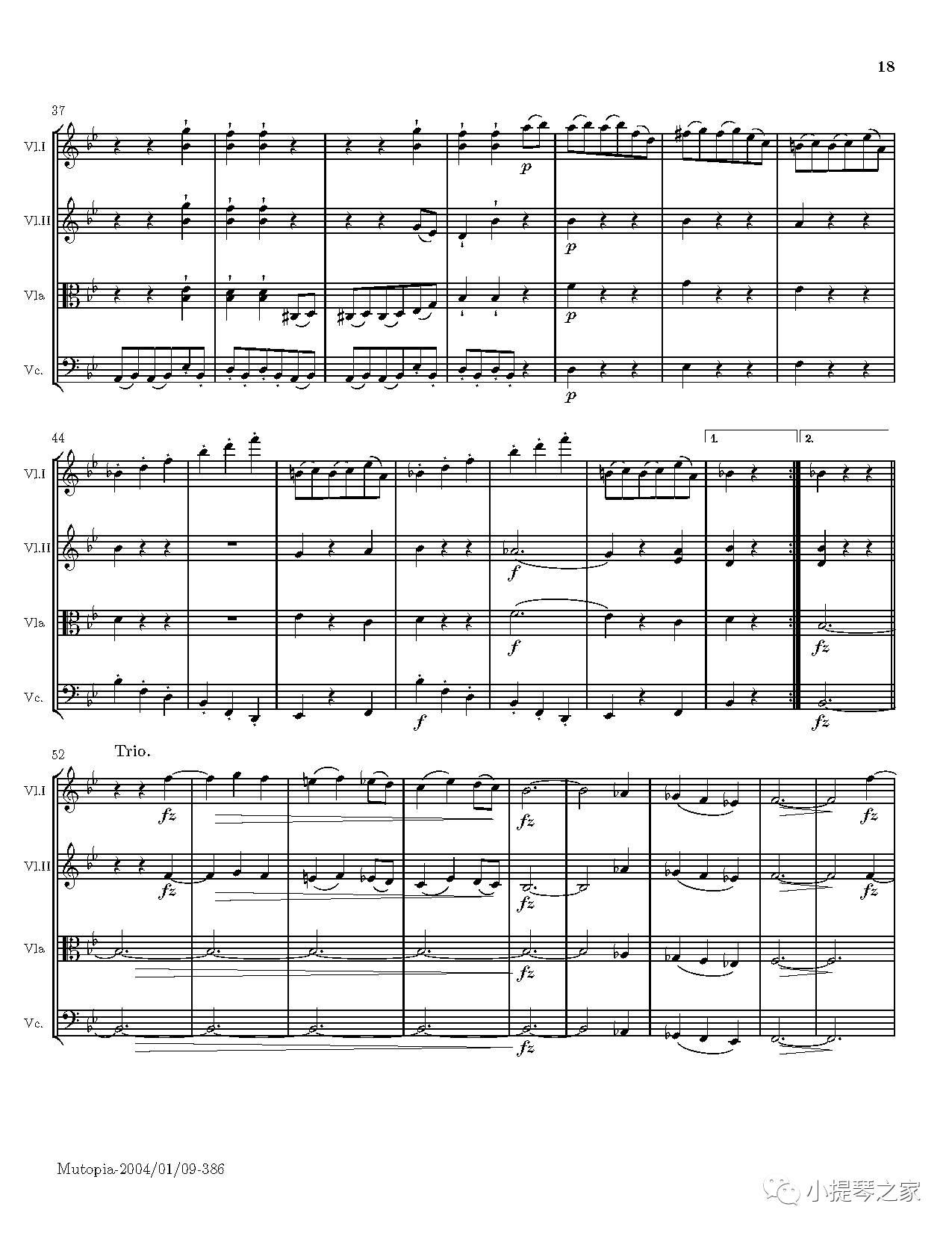 弦乐四重奏《日出》附小提琴谱-海顿曲