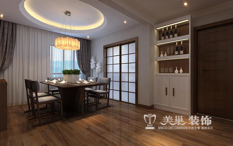 餐厅及门厅:因为客户喜欢中式的意味隽永,但是又不想过于老气,所以