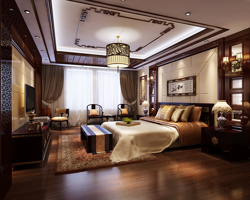 龙发装饰鸿园方五室两厅新中式——主卧室装修效果图
