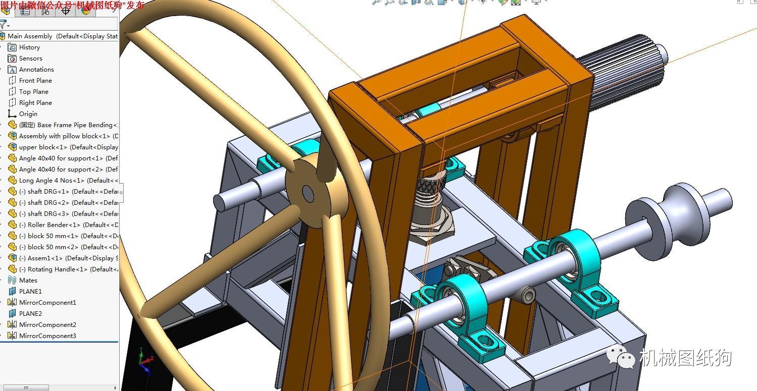 【工程机械】液压弯管机模型3d图纸 solidworks设计