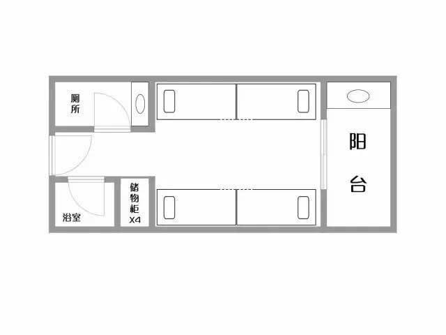 宿舍楼均可随时刷卡进门 但是在月黑风高的大学城 四人一间型 室内图片