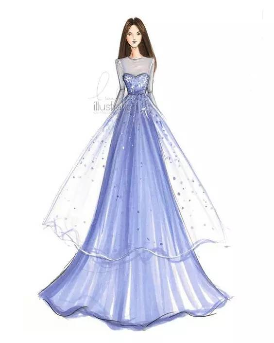 礼服手绘 | 你是否也想拥有这样的时尚礼服?