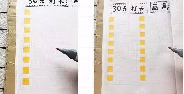 画绿色方格   在黄色的格子右边,涂上绿色格子(绿色格子代表已做)   画黄色方格   在你的方格手帐本里找9个小格子,用黄色的马克笔涂满(没把握的可先用铅笔轻轻画上框,若介意马克笔印色也可用彩铅或水彩)   总共画30个黄色小方格