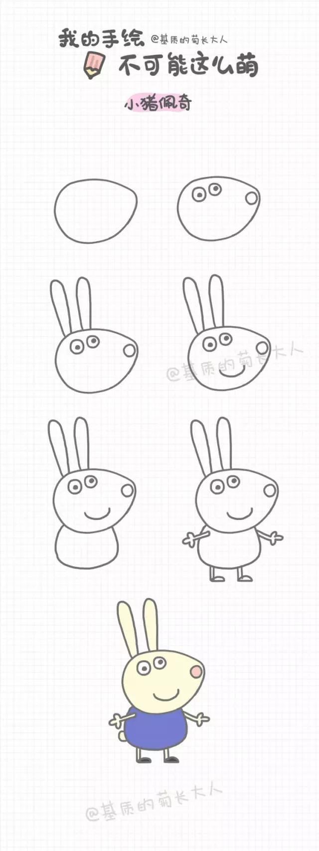 小猪佩琪简笔画-小猪佩奇和她的小伙伴们