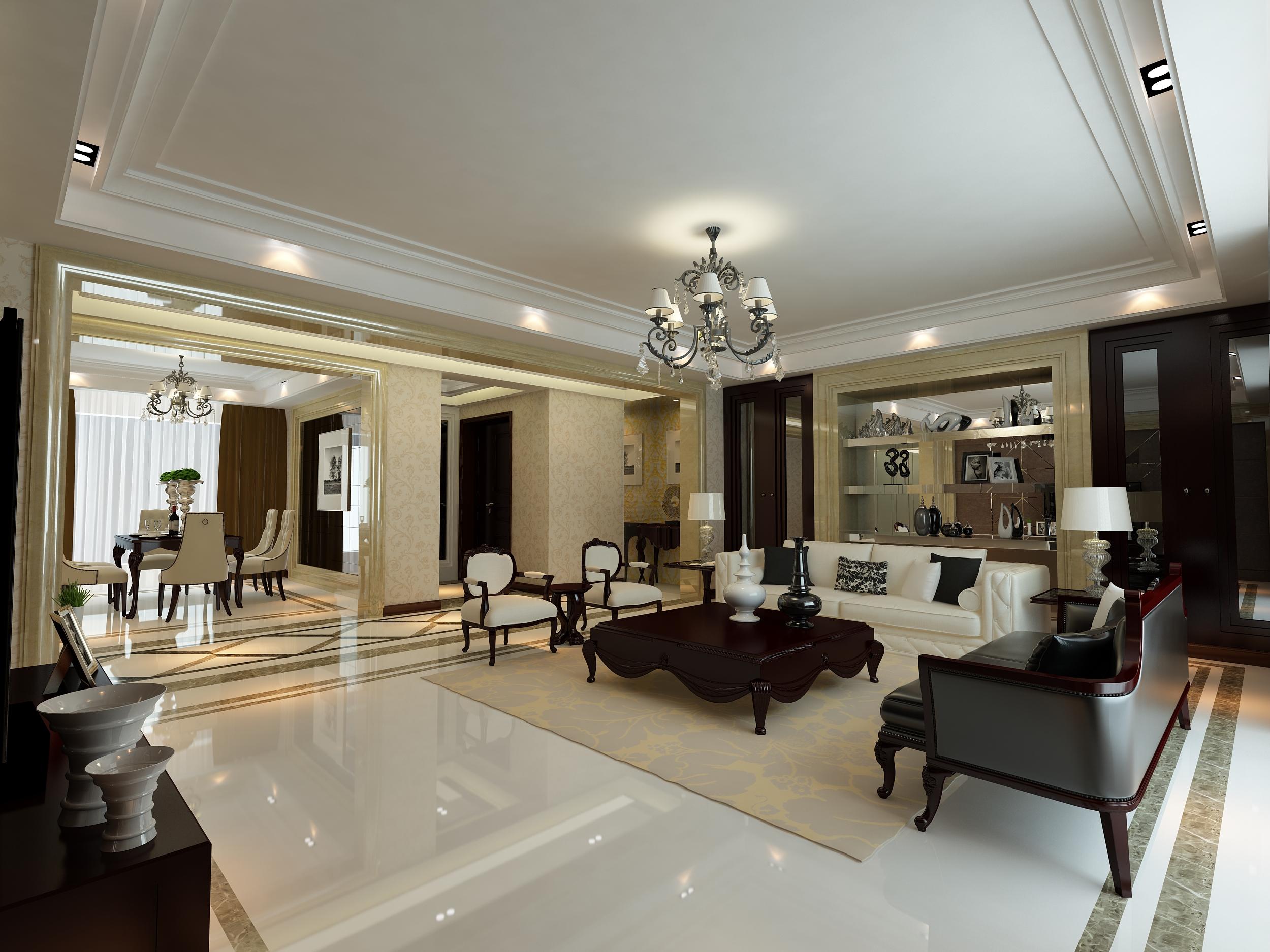 装饰怡丰森林湖155平方四室两厅简欧风格装修效果图:白色简约欧式风格