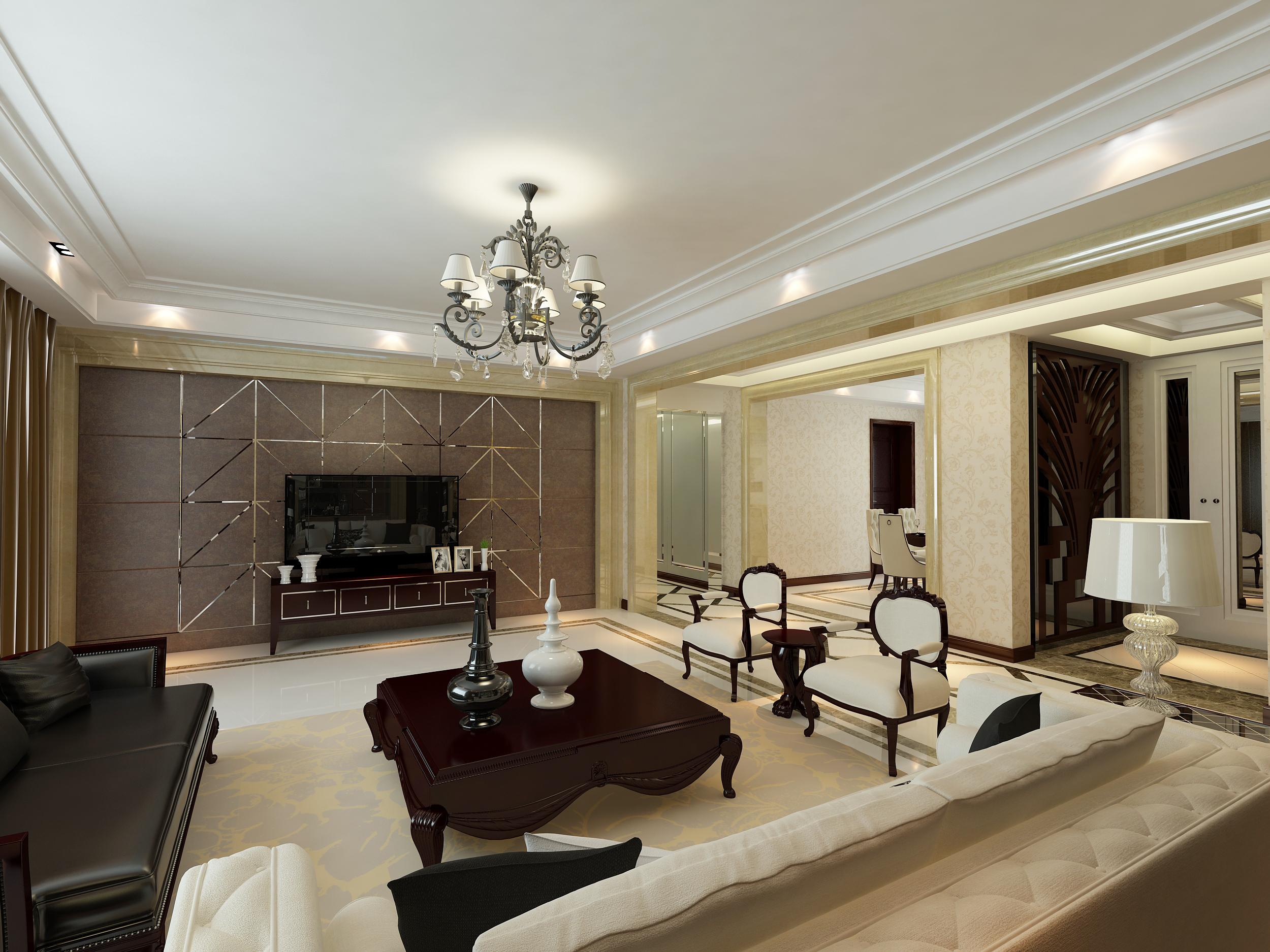 怡丰森林湖155平方4室2厅简欧风格客厅装修效果图