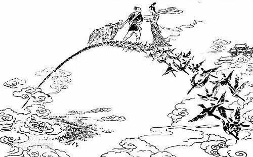大树与喜鹊简笔画图片大全-歪科普 牛郎织女七夕会,喜鹊搭桥秃了头