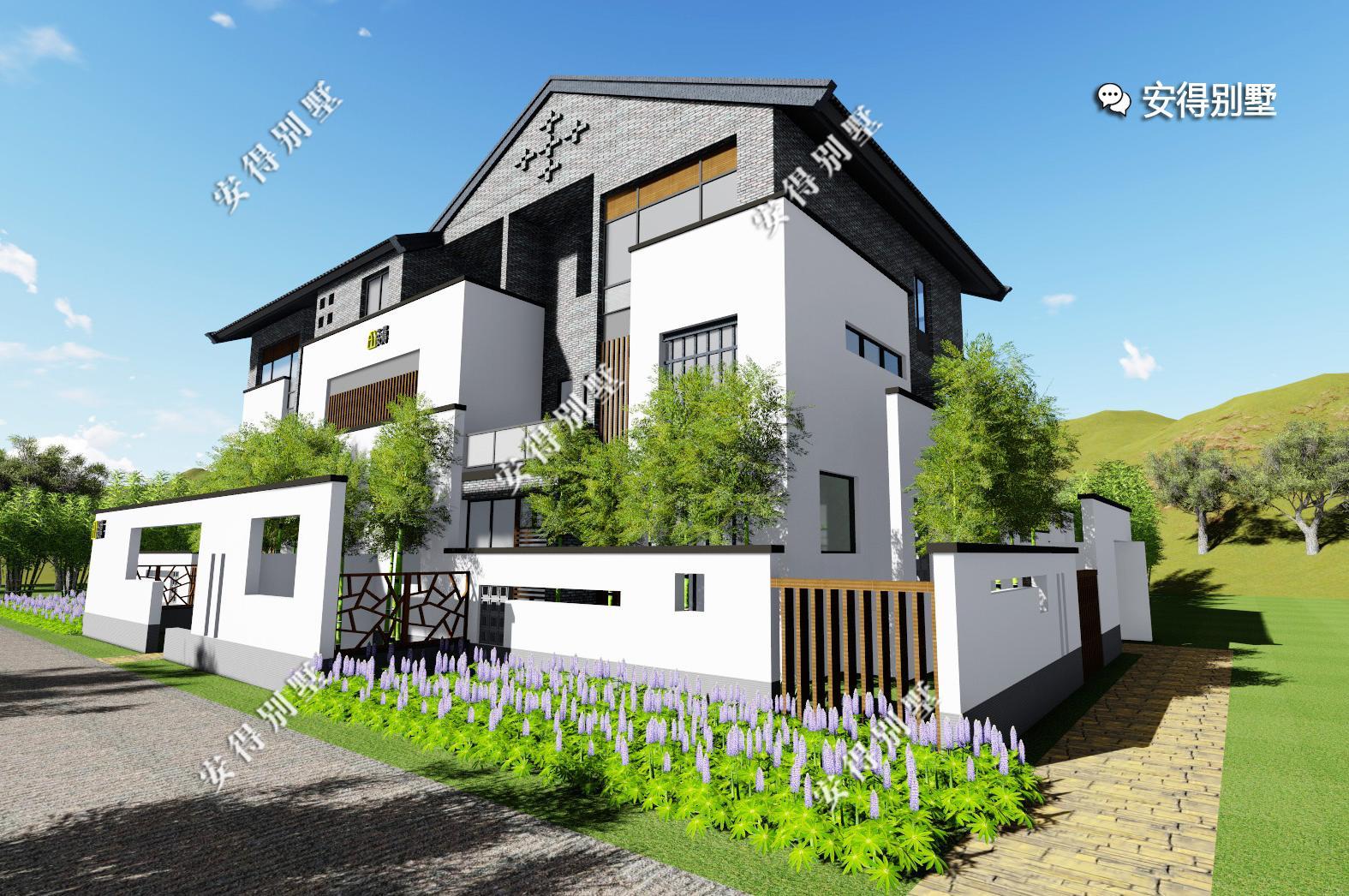农村中式别墅该有的模样,有花有水有庭院,白墙青砖大露台