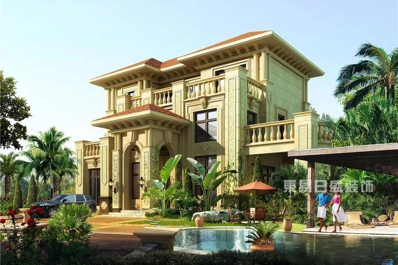 半岛碧桂园400平装修案例欣赏,内外独具欧式古典气息的独栋别墅图片