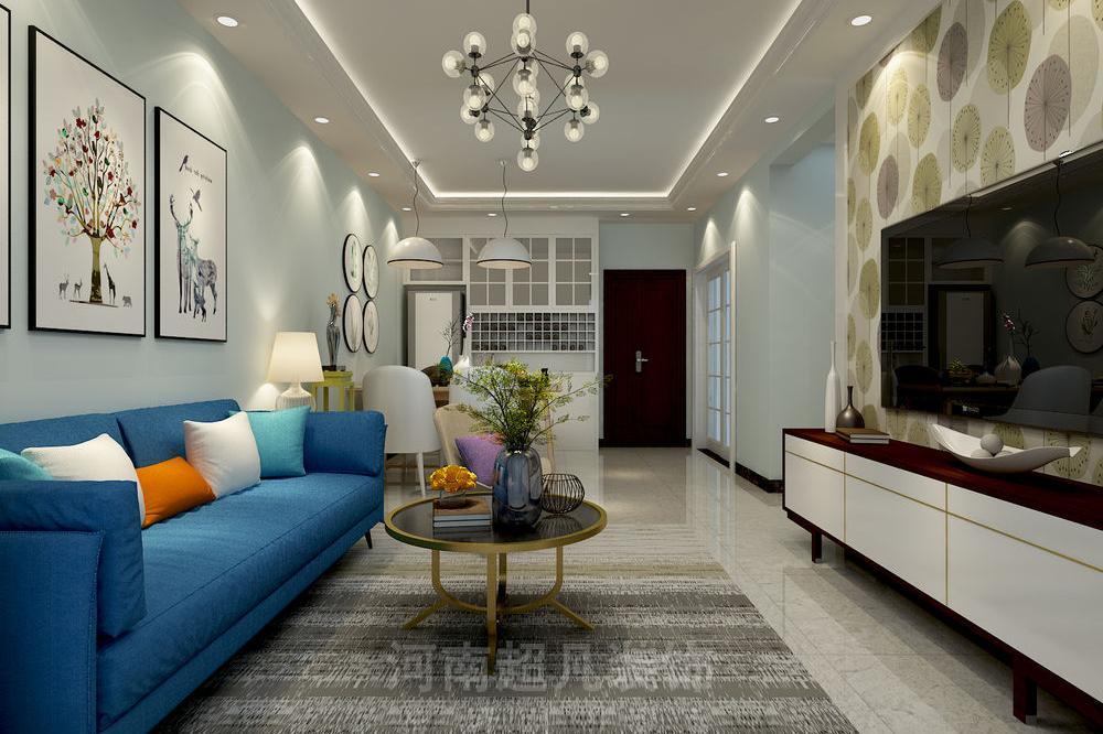 现代简约风格效果图:绿都澜湾89平三居室装修,清新时尚,雅致大气!