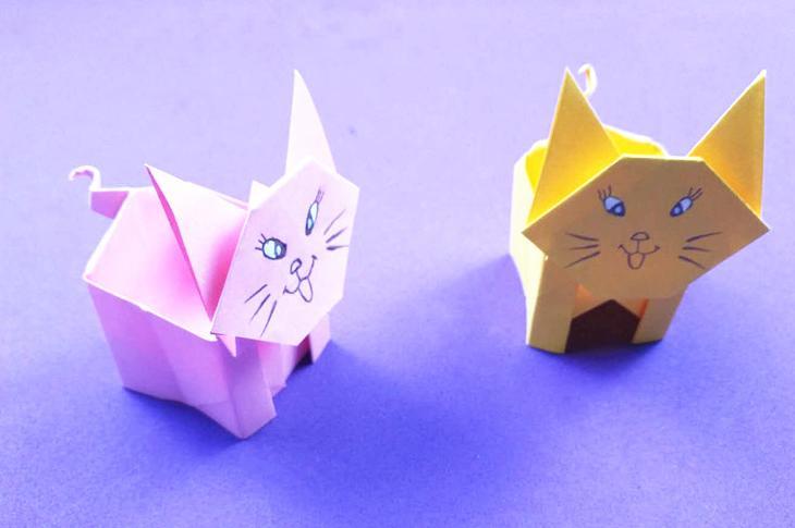 可爱的小猫咪收纳盒折纸,简单易学又实用,小朋友最喜欢了!