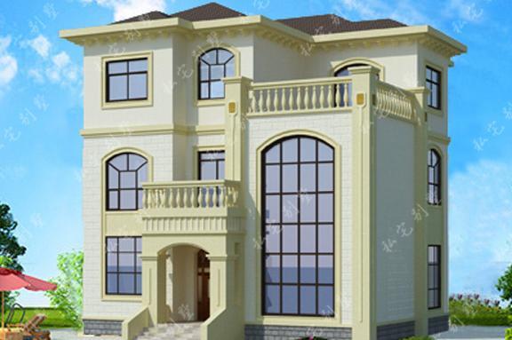 欧式框架大气客厅通高三层农村自建房别墅,建了都来仿建