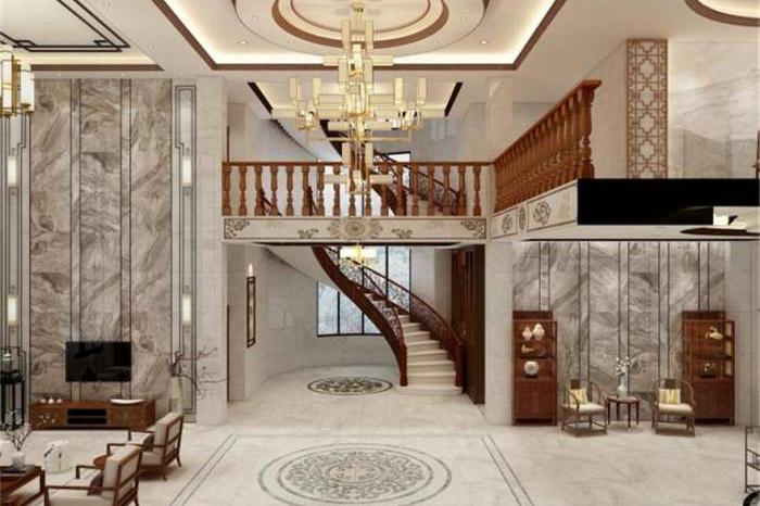 新中式风格别墅装修效果图·秀丽华美中的气势恢宏