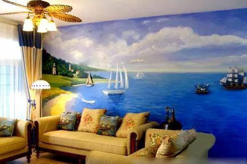 家装就是要一面丙烯颜料手绘墙