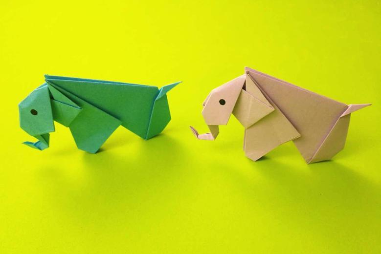 教你用纸折出可爱的小象,折法简单幼儿园小朋友也会做,折纸视频图片